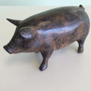 Baby Pig Standing Bronze