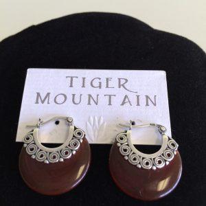 Sterling Silver Carnelian Earrings, Round