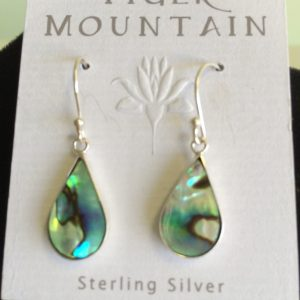 Sterling Silver Aqua Sea Green StainGlass Earrings