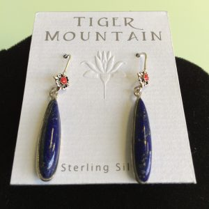 Sterling Silver Blue with Red Long Earrings