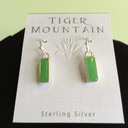 Sterling Silver and Jade Rectangle Earrings