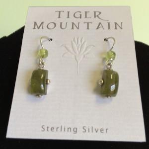 Sterling Silver Peridot and Jade EarringsSterling Silver Olive Earrings