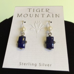 sterling Silver Deep Blue with Pearl Earrings