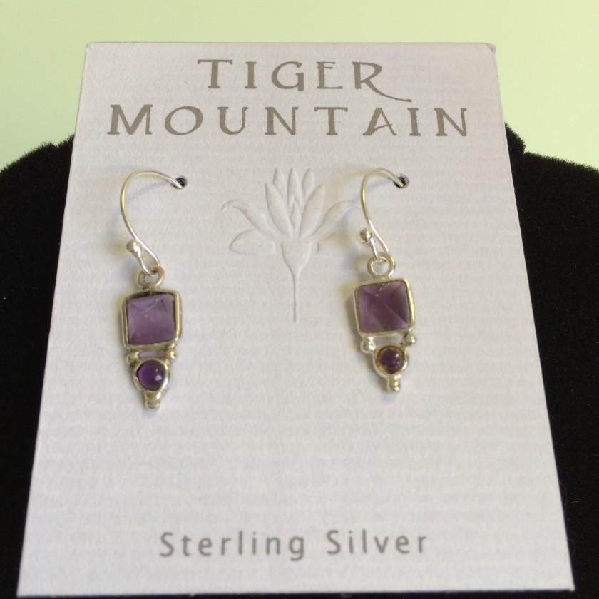 Sterling Silver Purple Earrings