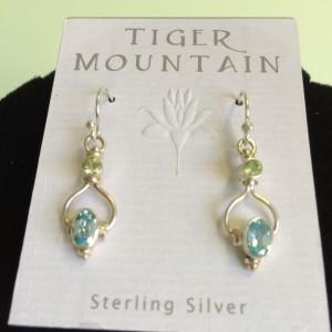 Sterling Silver Aqua & Lime Green 2 Tier Earrings