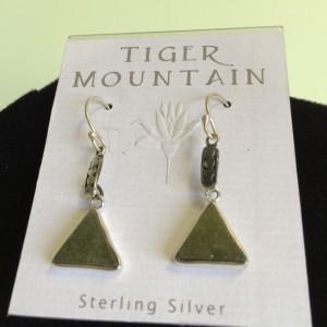 Sterling Silver Jade Triangle Earrings