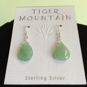 Sterling Silver Sea Green Tear Drop Earrings