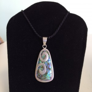 Sterling Silver Purple, Blue & Green Oval Necklace