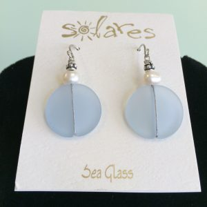 Light Blue Sea Glass Round Earrings with Pearl