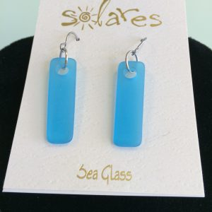 Aqua Sea Glass Bar Earrings