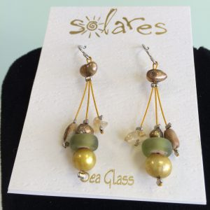 Icy Olive Sea Glass Earrings