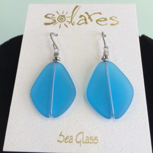 Dark Aqua Sea Glass Earringsgift, jewelry, sea glass