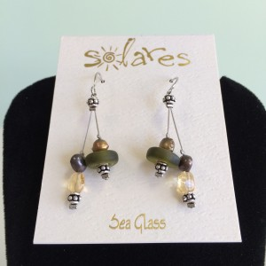 Icy Olive Recycled Sea Glass Earrings.