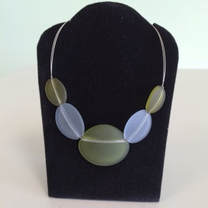 Light Blue & Icy Olive Sea Glass Necklace Fashion Necklace