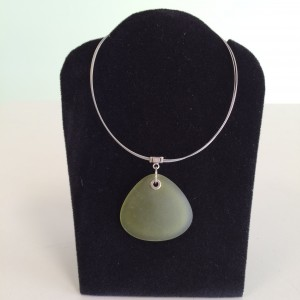 Icy Olive Sea Glass Necklace