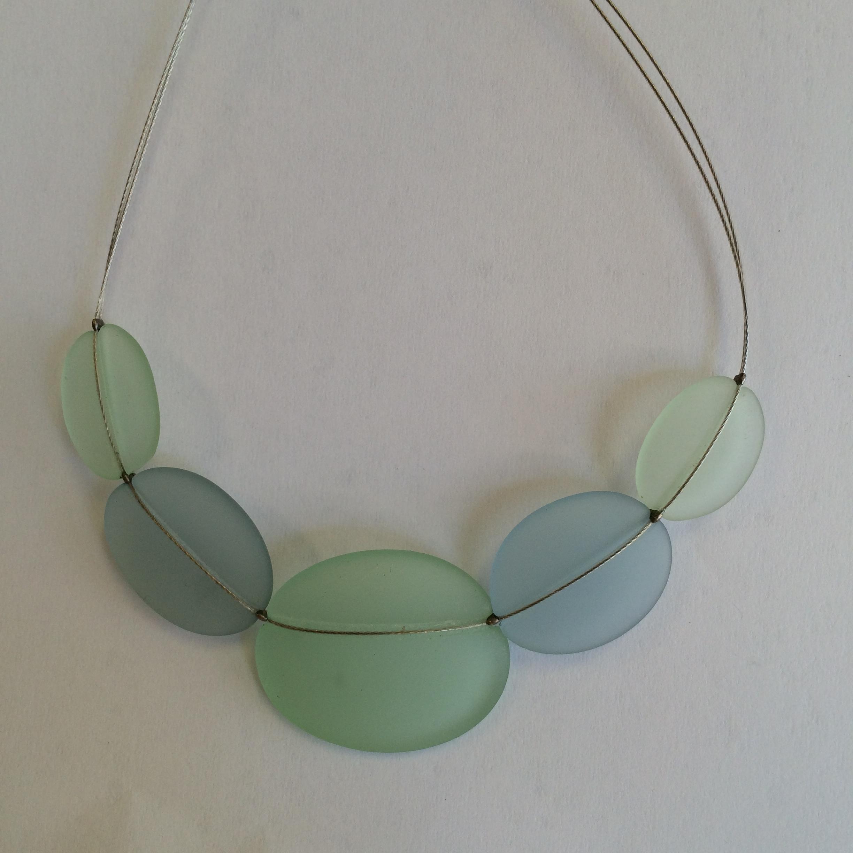 Light Blue & Light Green Sea Glass Necklace