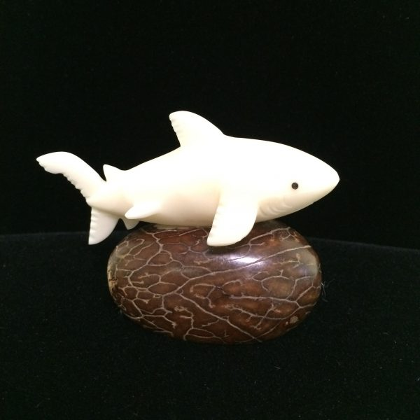 Tagua Nut Shark, White on Base