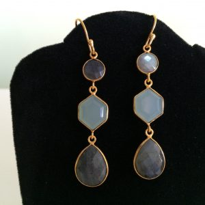 Triple LB Drop Earrings