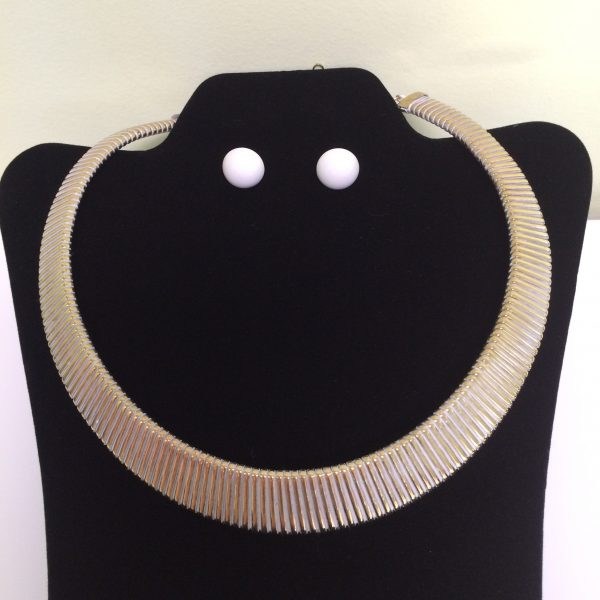 Gold Tone Wide Metal Necklace & Earring Set