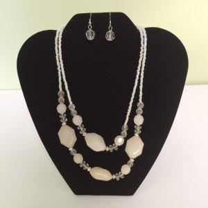 Ivory Beads Fashion Necklace & Earring Set