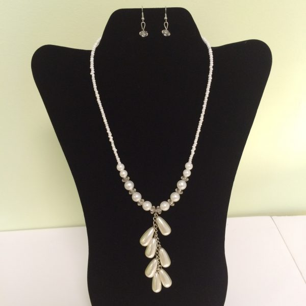Simulated Pearl Necklace & Earring Set