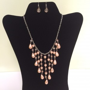 Drop Peach Beads Necklace & Earring Set