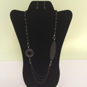 Charcoal Colored Beads Fashion Necklace & Earring Set
