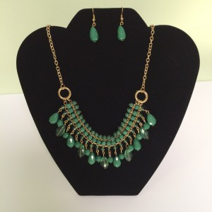 Green Drop Beaded Fashion Necklace & Earring Set