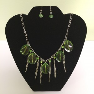 Light Green Drop Fashion Necklace on Silver Colored Chain & Earring Set