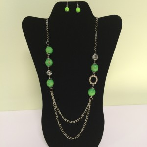 Lime Green Fashion Necklace on Silver Colored Chain & Earring Set