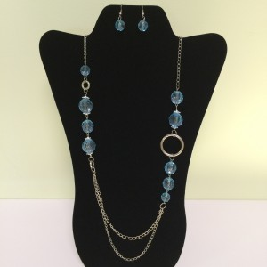 Fashion Necklace & Earring Blue Beaded Set 120
