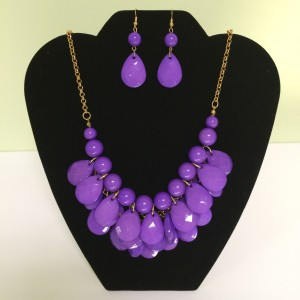 Fashion Necklace & Earring Purple Drop Set 125
