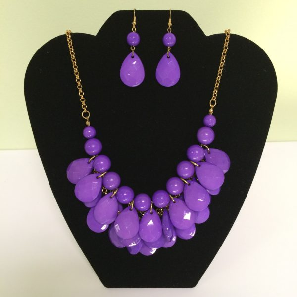 Fashion Necklace & Earring Purple Drop Set 125