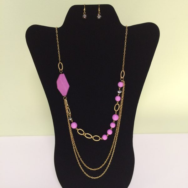 Fashion Necklace & Earring Pink Beads Set 126