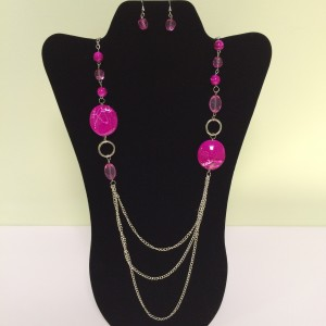 Fashion Necklace & Earring Pink Balls Set 127