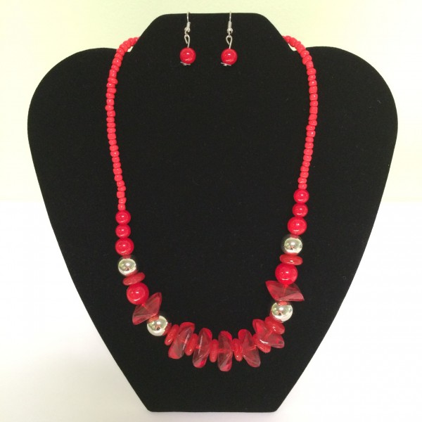 Fashion Necklace & Earring Red & Clear Balls Set 129