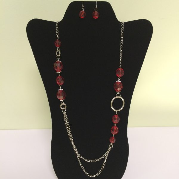 Fashion Necklace & Earring Red Beads Silver Circles Set 130