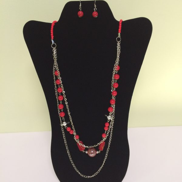 Fashion Necklace & Earring Red Beads Layered Set 131