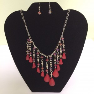 Fashion Necklace & Earring Red Bead Drop Set 133