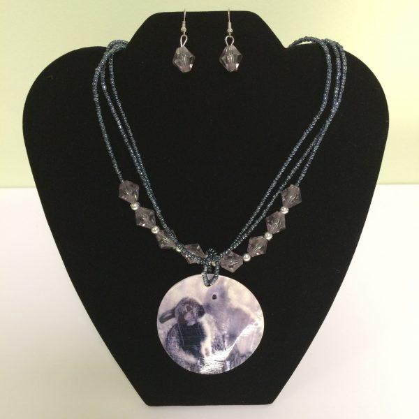 Fashion Necklace & Earring Rabbit Medallion Set 135