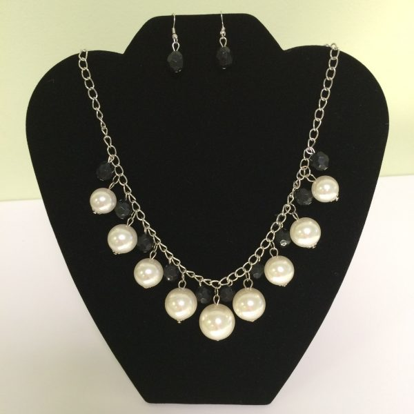Fashion Necklace & Earring Ivory & Gray Set 136 Silvered Colored Chain Necklace & Earrings Set