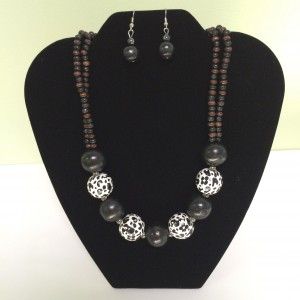 Gray & White Speckled Balls on Beaded Necklace & Earrings Set