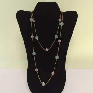 "33"" Rose QTZ Aqua Necklace"