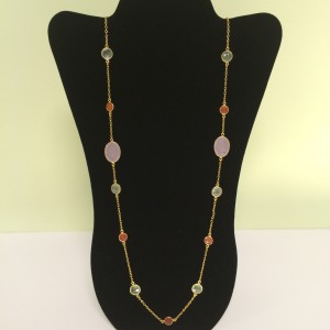 "30"" Rose QTZ, PHE, CARN, Multi Size Necklace"