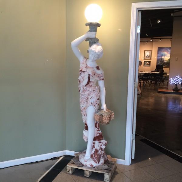 Marble Statue Lighted Ladies/set of 2