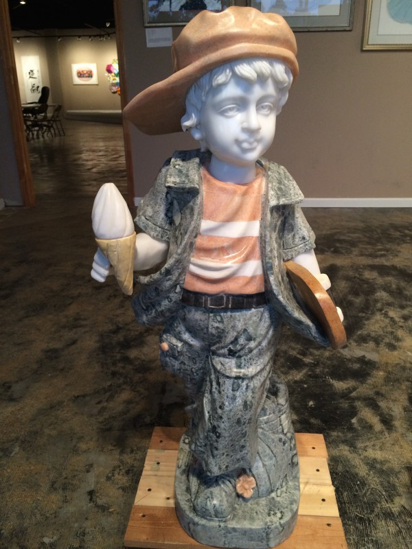 Marble Statue Little Boy with Ice Cream Cone Statue