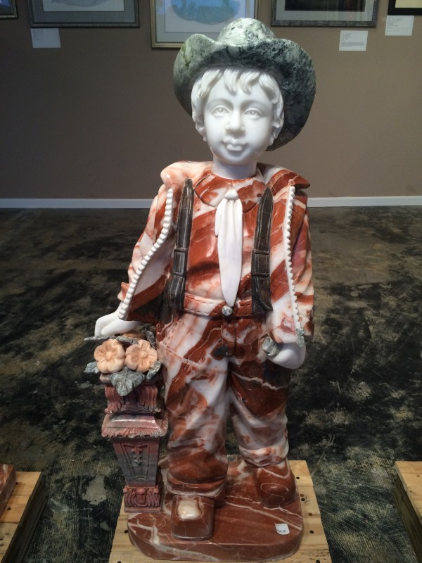 Marble Statue Little Boy with Flowers