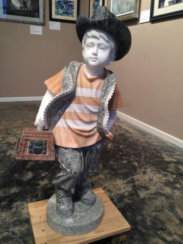 Marble Statue Little Boy with Cowboy HatLittle Boy with Cowboy Hat Statue