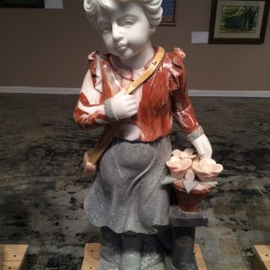 Marble Statue Little Girl with Flower Basket Statue