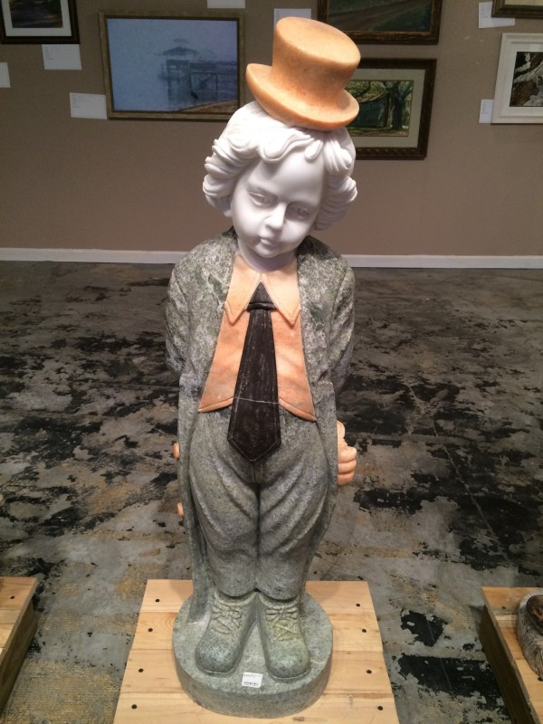Marble Statue Little Boy with Tie & Top Hat